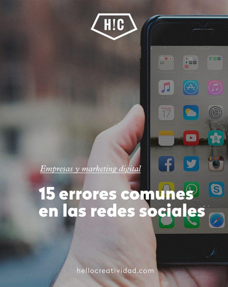 Imagen portada 15 errores comunes en las redes sociales