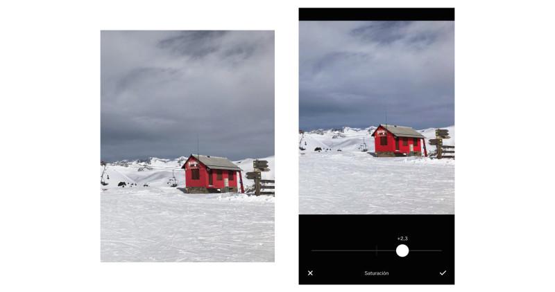 editar fotos con móvil - corregir saturación - vsco app