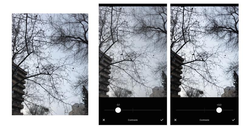 aumentar el contraste en fotos de móvil - vsco