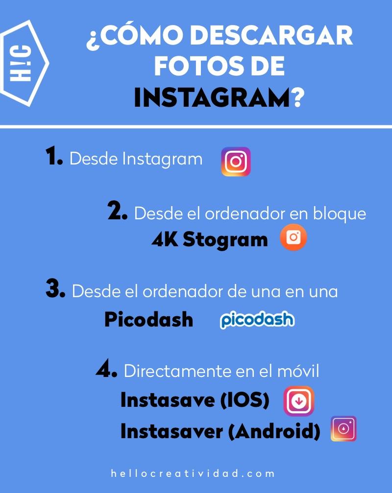 como descargar fotos de Instagram - infografía