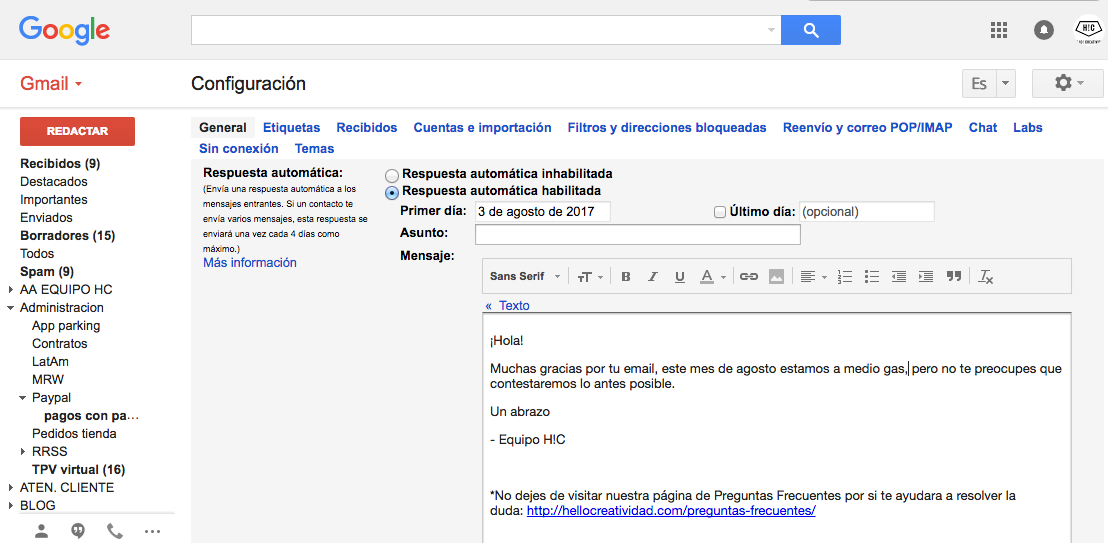 ejemplo crear respuesta automatica gmail
