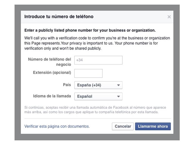 como verificar tu pagina de Facebook 2