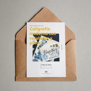 Tarjeta Regalo Caligrafía moderna con rotulador y acuarela