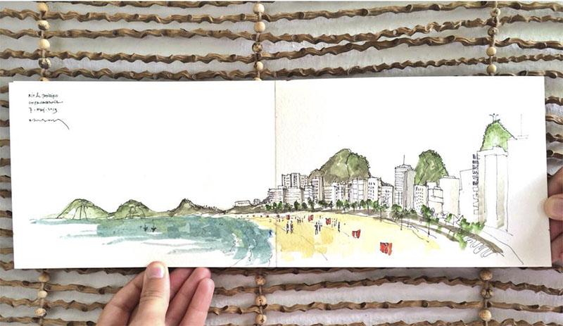 cuaderno de viaje con acuarela